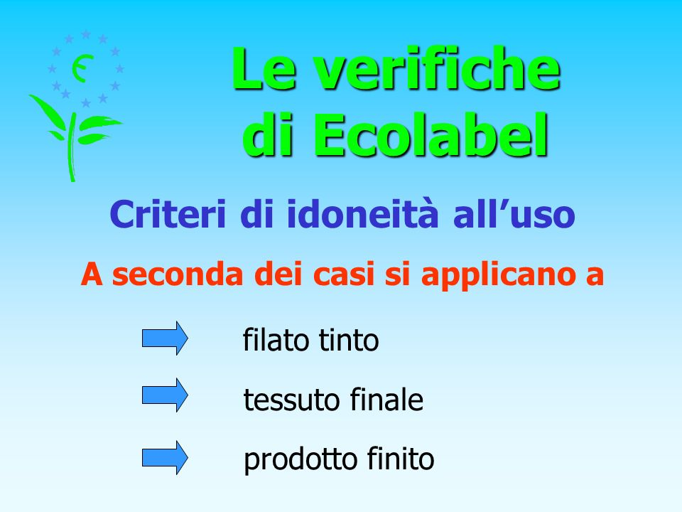 Le verifiche di Ecolabel A seconda dei casi si applicano a