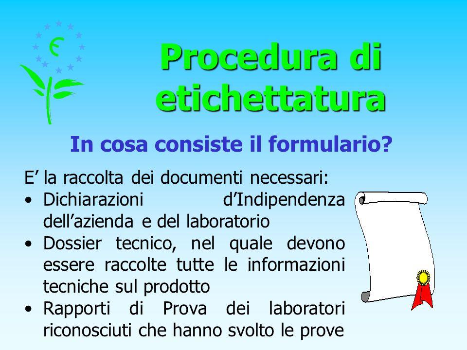 Procedura di etichettatura In cosa consiste il formulario