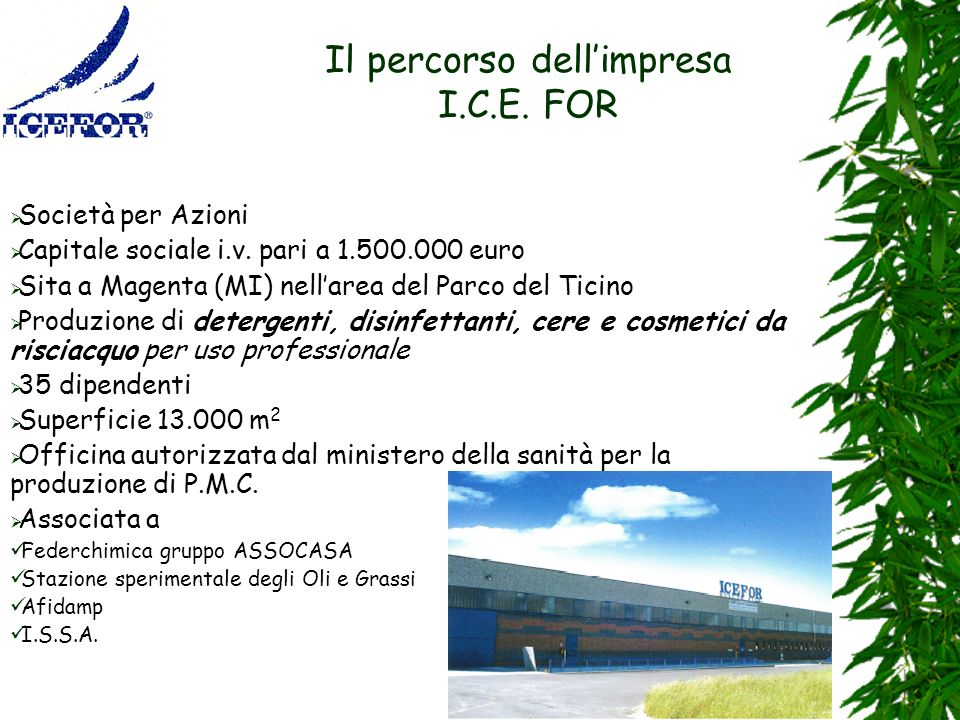 Il percorso dell'impresa I.C.E. FOR