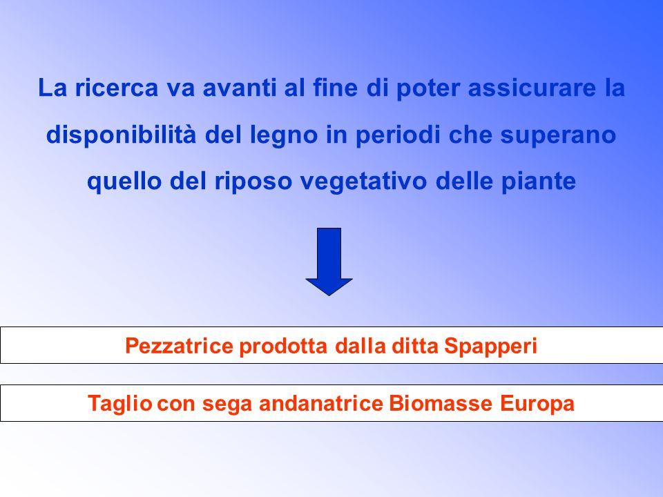 La ricerca va avanti al fine di poter assicurare la disponibilità del legno in periodi che superano quello del riposo vegetativo delle piante