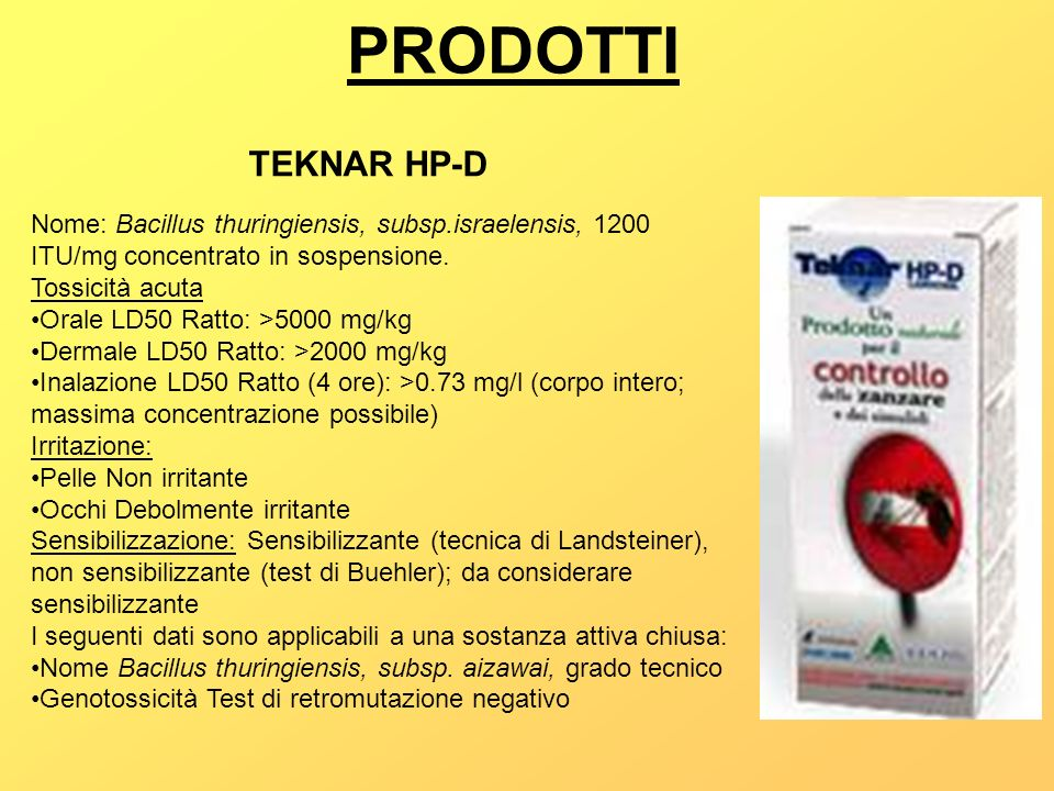 PRODOTTI TEKNAR HP-D. Nome: Bacillus thuringiensis, subsp.israelensis, 1200 ITU/mg concentrato in sospensione.