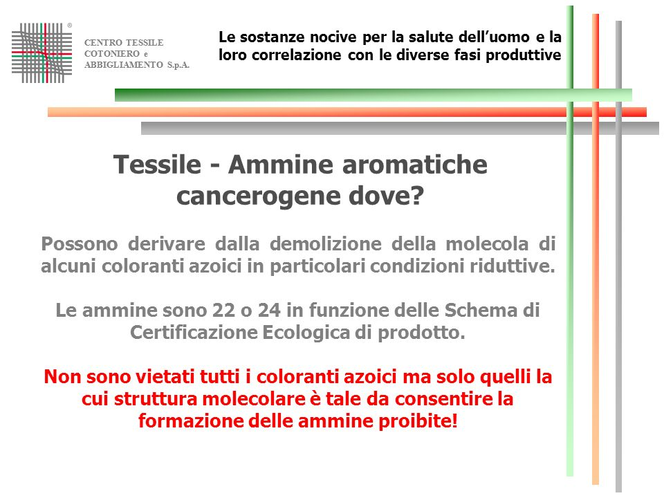 Tessile - Ammine aromatiche