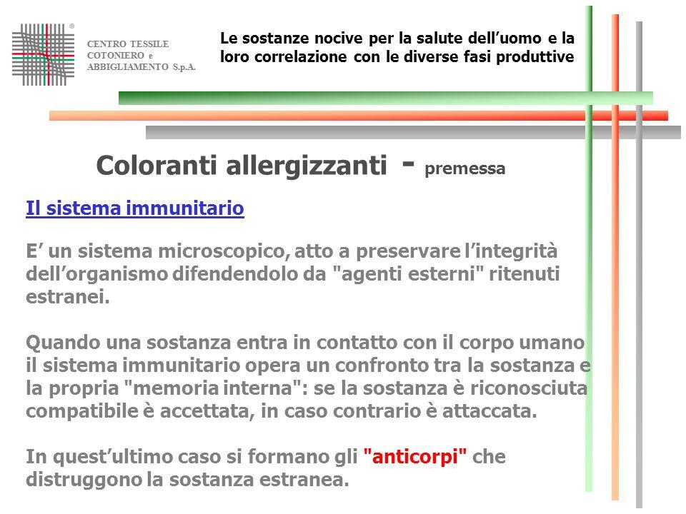 Coloranti allergizzanti - premessa