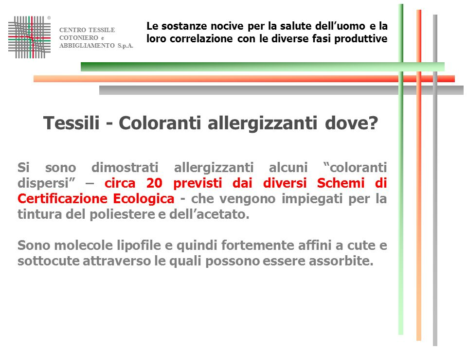 Tessili - Coloranti allergizzanti dove