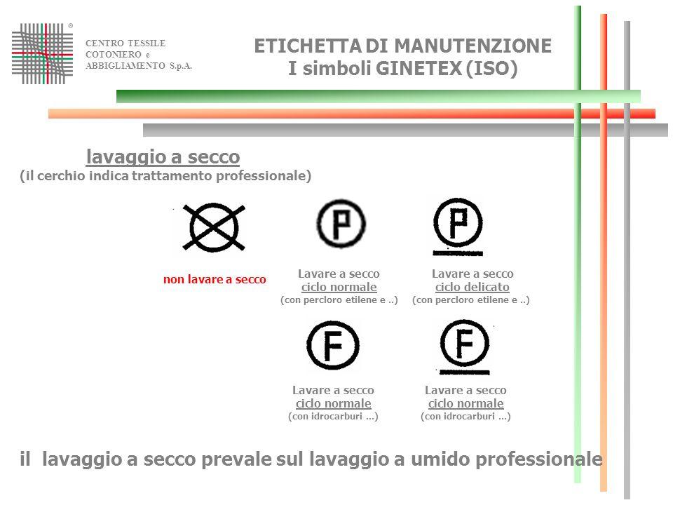 ETICHETTA DI MANUTENZIONE I simboli GINETEX (ISO) lavaggio a secco