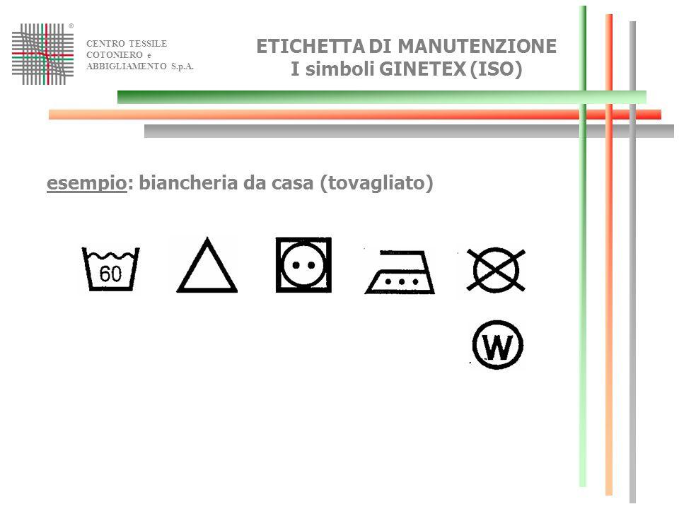 ETICHETTA DI MANUTENZIONE I simboli GINETEX (ISO)