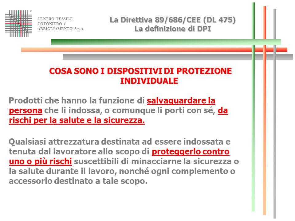 La Direttiva 89/686/CEE (DL 475) La definizione di DPI