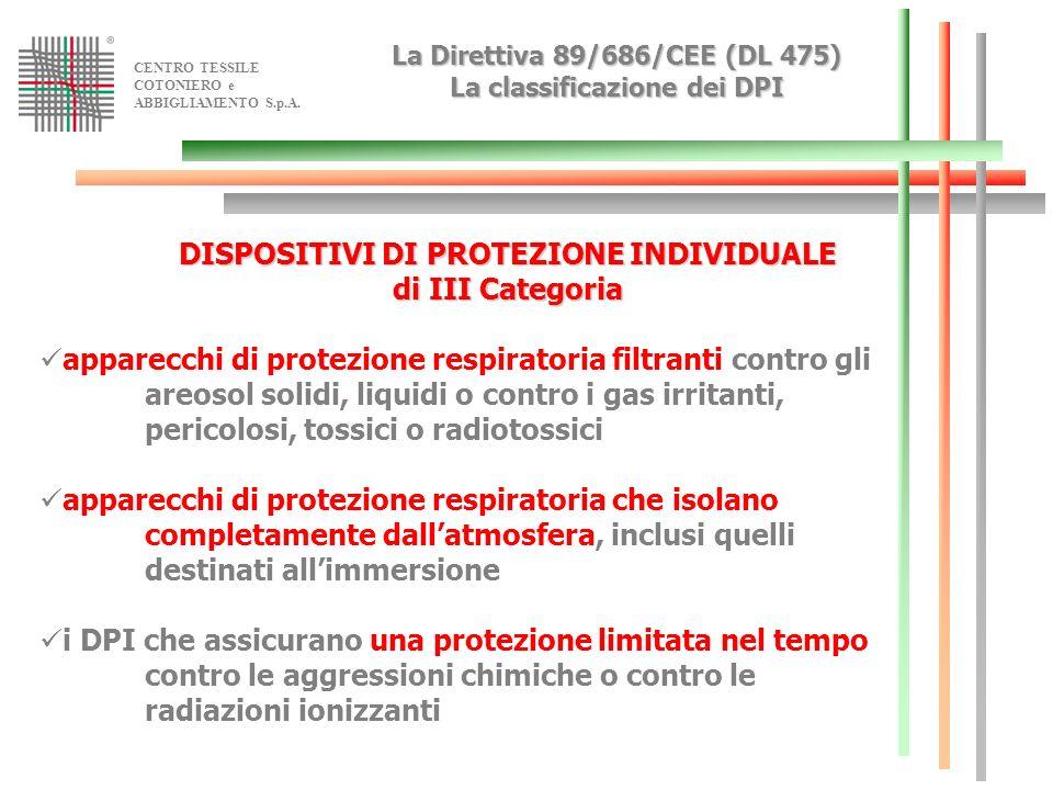 La Direttiva 89/686/CEE (DL 475) La classificazione dei DPI