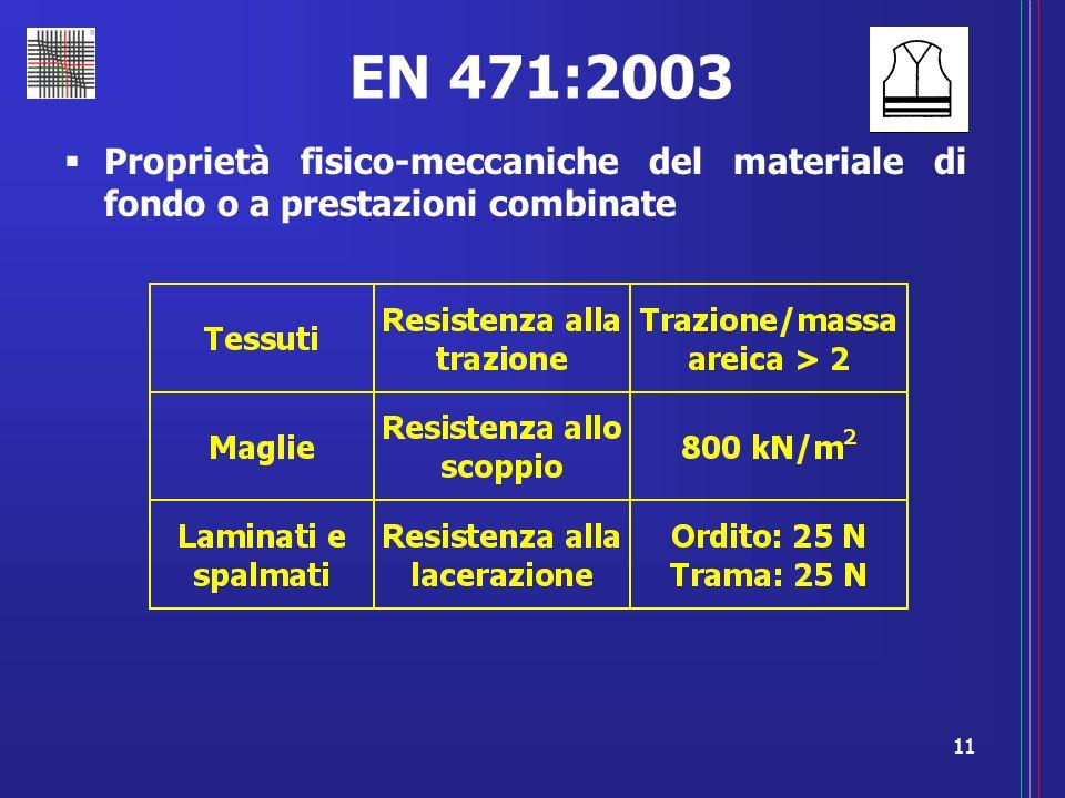 EN 471:2003 Proprietà fisico-meccaniche del materiale di fondo o a prestazioni combinate
