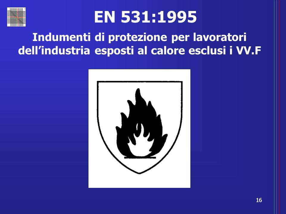 EN 531:1995 Indumenti di protezione per lavoratori dell'industria esposti al calore esclusi i VV.F