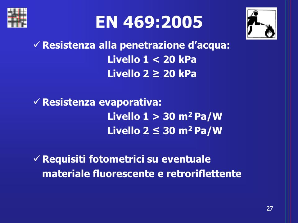 EN 469:2005 Resistenza alla penetrazione d'acqua: