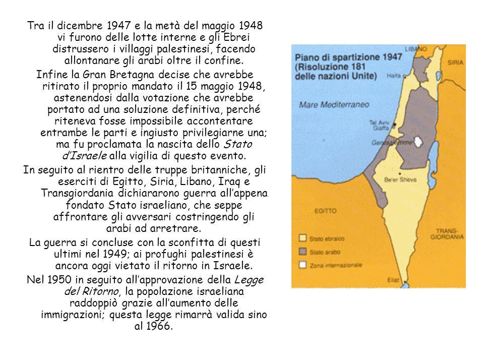 Tra il dicembre 1947 e la metà del maggio 1948 vi furono delle lotte interne e gli Ebrei distrussero i villaggi palestinesi, facendo allontanare gli arabi oltre il confine.