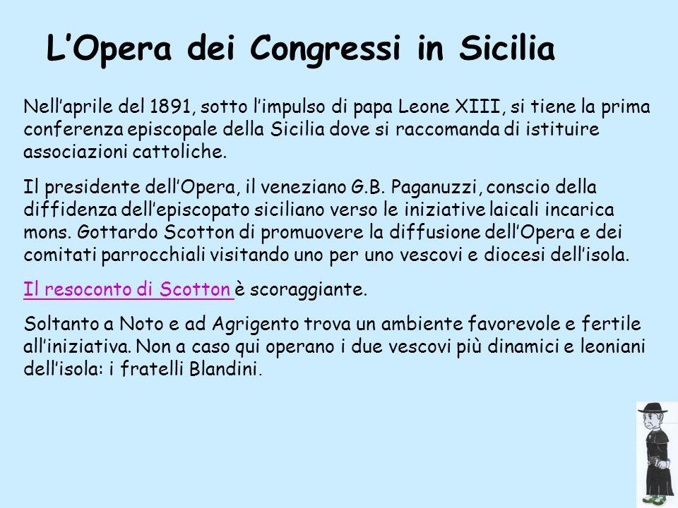 Opera in sicilia L'Opera dei Congressi in Sicilia
