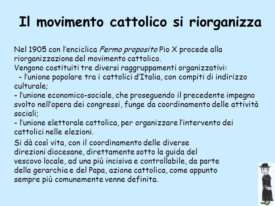 Il movimento cattolico si riorganizza