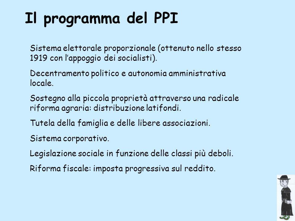 Il programma del PPISistema elettorale proporzionale (ottenuto nello stesso 1919 con l'appoggio dei socialisti).