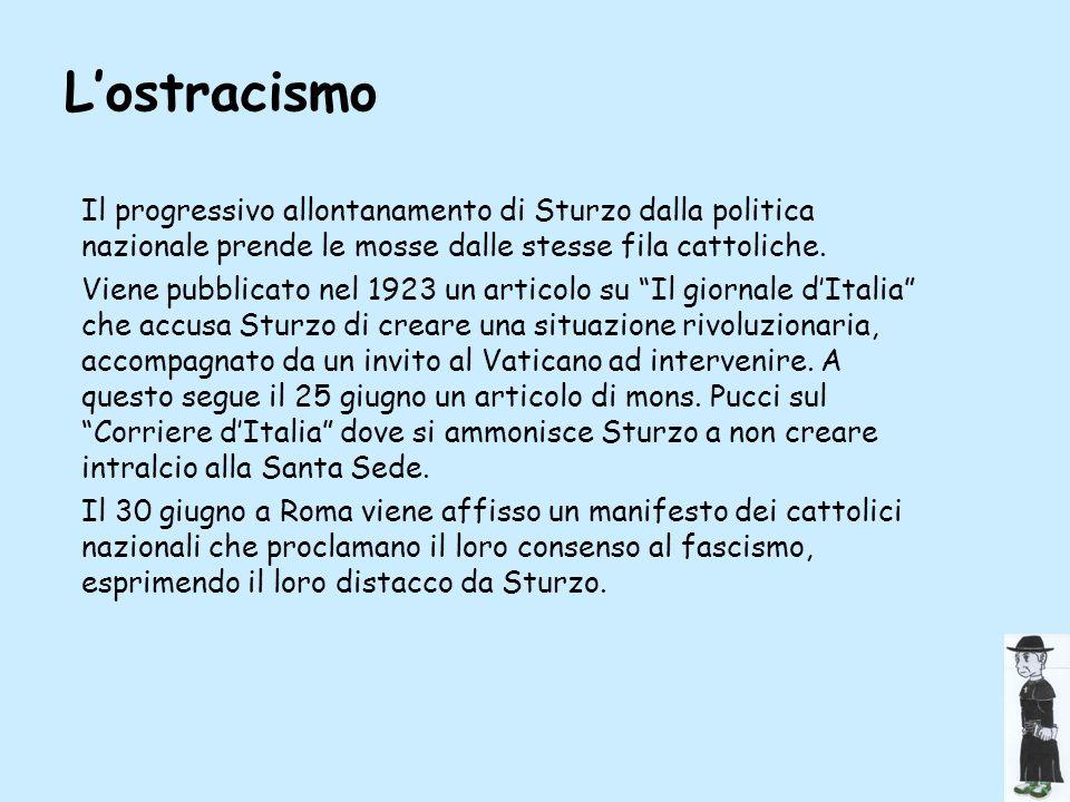 L'ostracismo Il progressivo allontanamento di Sturzo dalla politica nazionale prende le mosse dalle stesse fila cattoliche.
