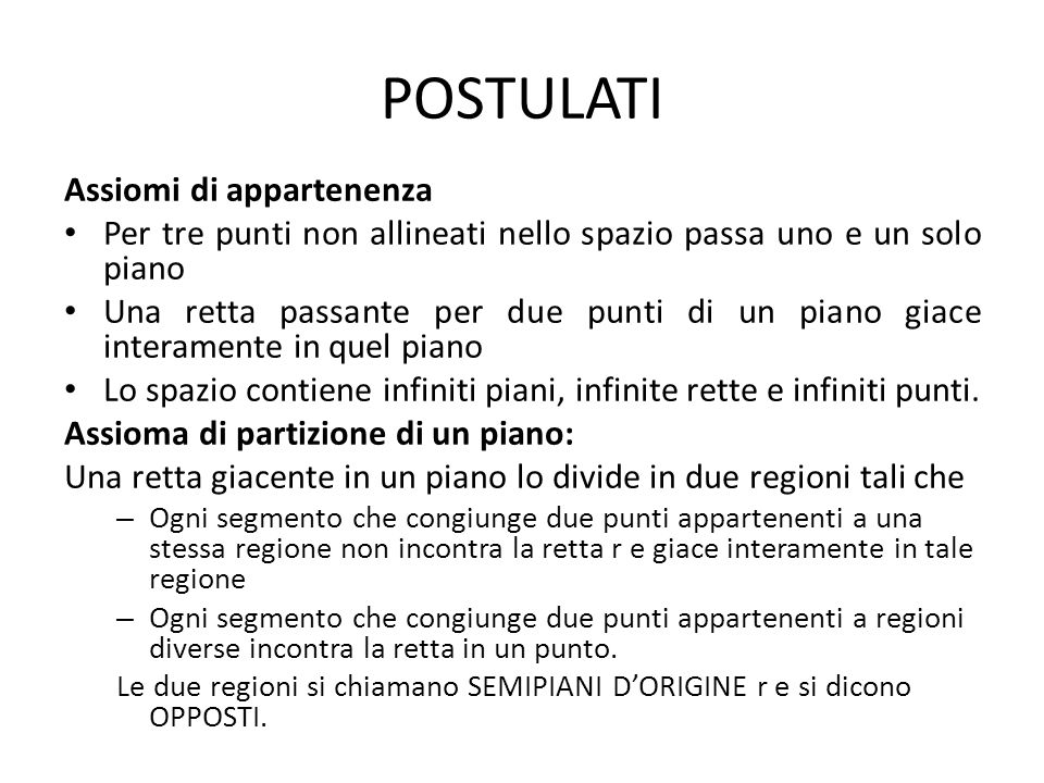 POSTULATI Assiomi di appartenenza