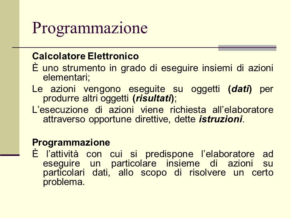 Programmazione Calcolatore Elettronico