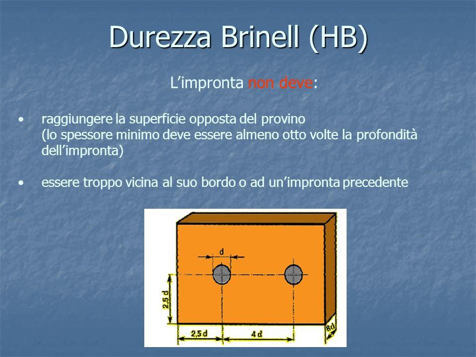 Durezza Brinell (HB) L'impronta non deve: