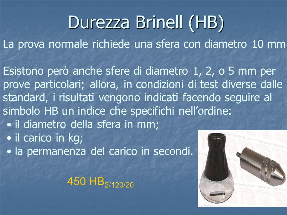 Durezza Brinell (HB) La prova normale richiede una sfera con diametro 10 mm.