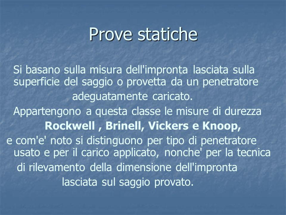 Prove statiche Si basano sulla misura dell impronta lasciata sulla superficie del saggio o provetta da un penetratore.