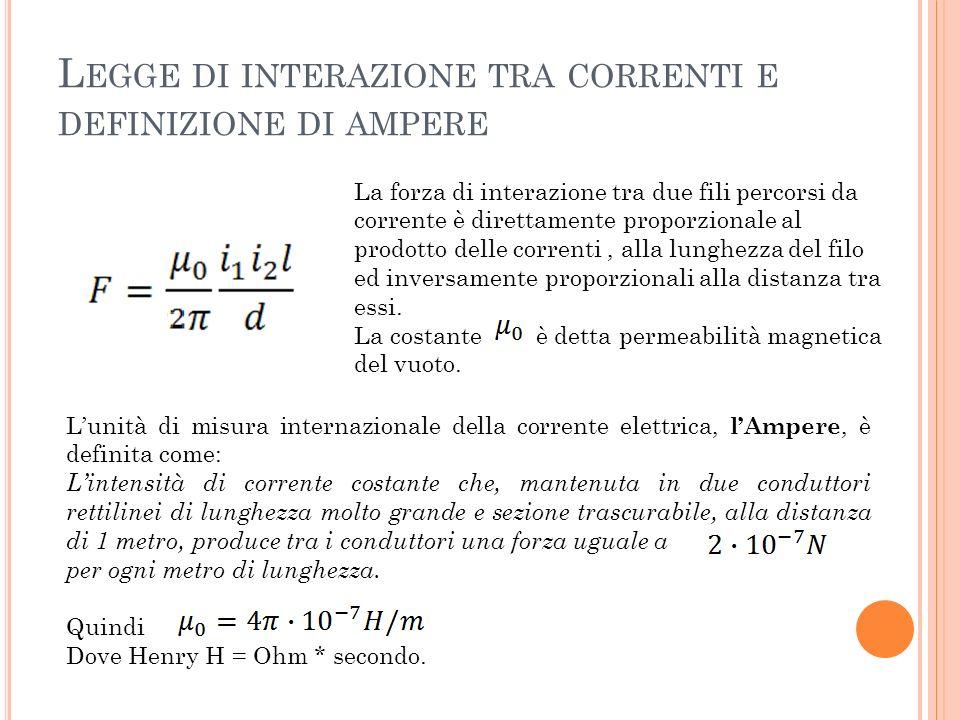 Legge di interazione tra correnti e definizione di ampere