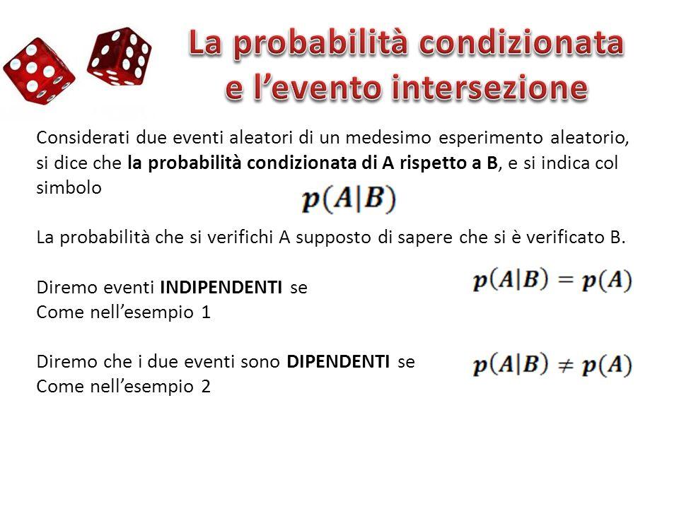 La probabilità condizionata e l'evento intersezione
