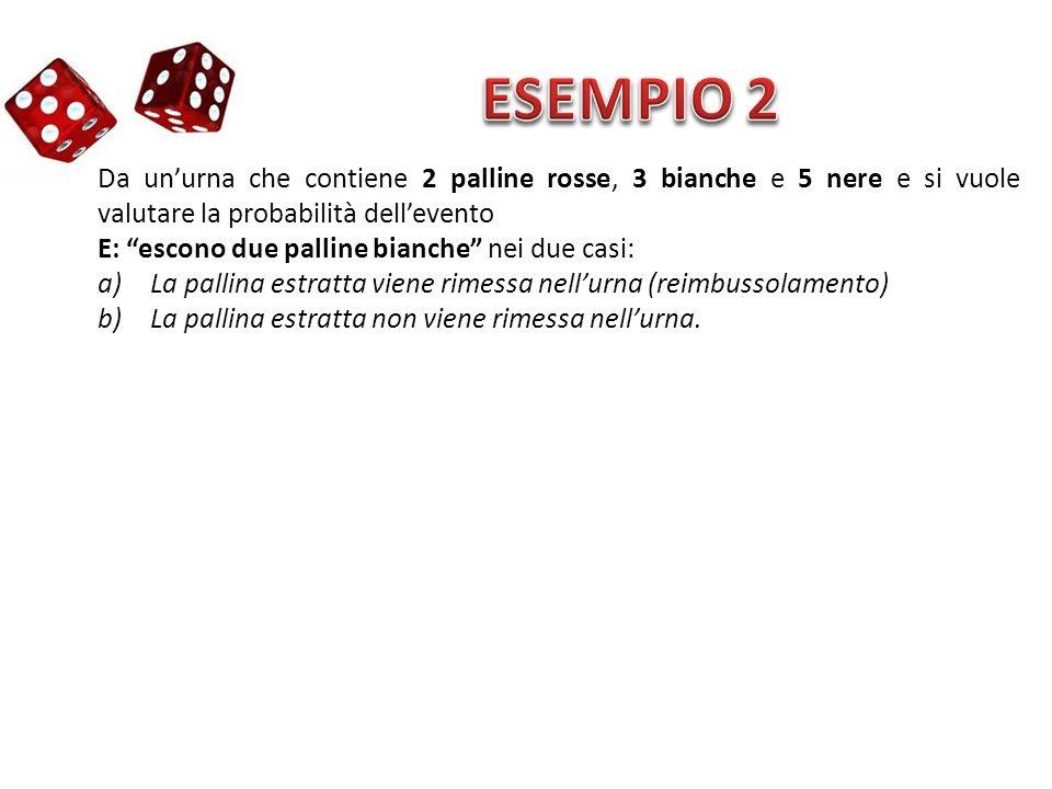 ESEMPIO 2 Da un'urna che contiene 2 palline rosse, 3 bianche e 5 nere e si vuole valutare la probabilità dell'evento.
