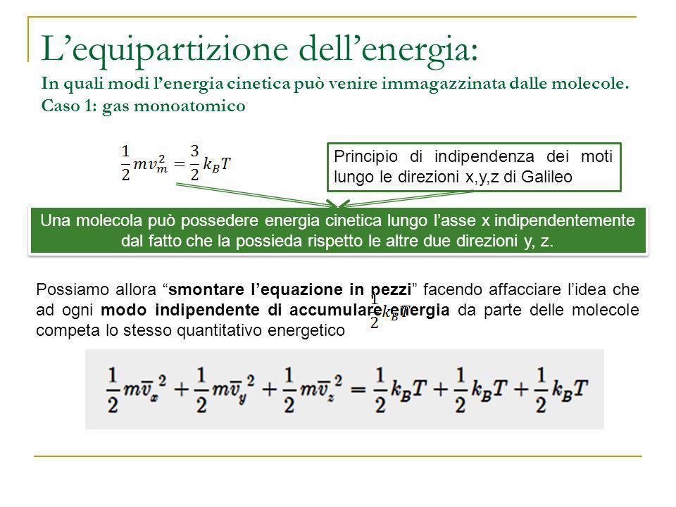 L'equipartizione dell'energia: In quali modi l'energia cinetica può venire immagazzinata dalle molecole. Caso 1: gas monoatomico