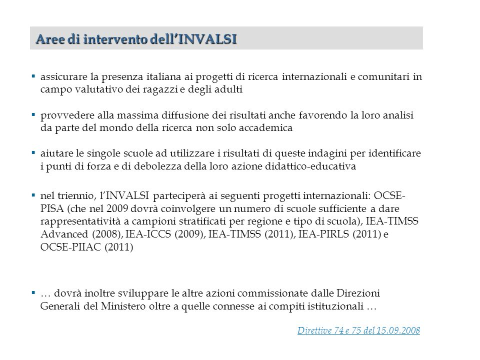 Aree di intervento dell'INVALSI