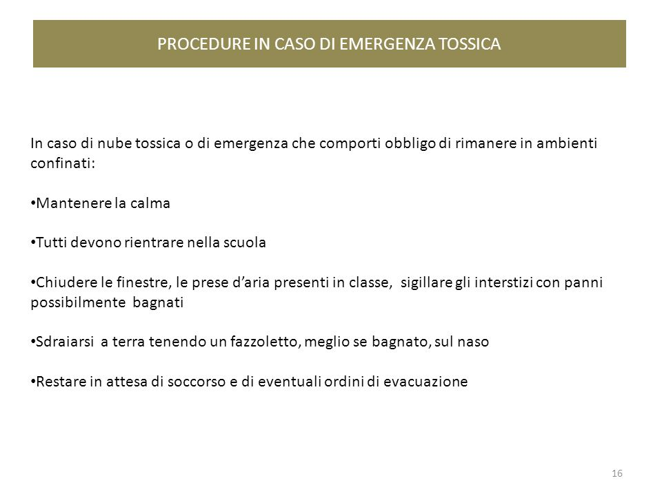 PROCEDURE IN CASO DI EMERGENZA TOSSICA