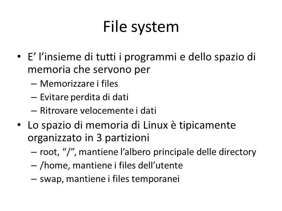 File system E' l'insieme di tutti i programmi e dello spazio di memoria che servono per. Memorizzare i files.