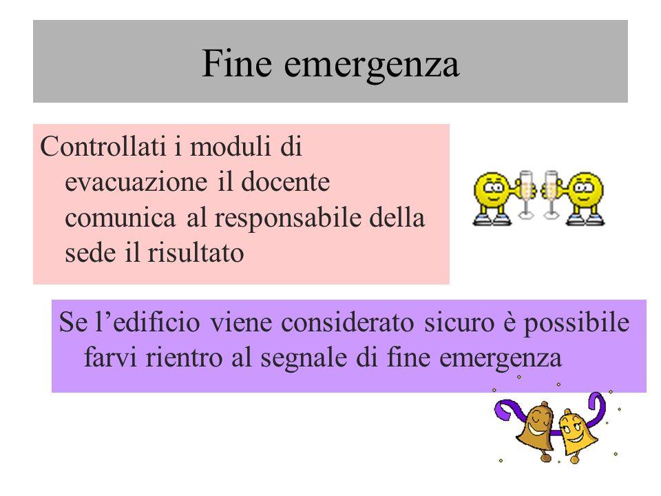 Fine emergenzaControllati i moduli di evacuazione il docente comunica al responsabile della sede il risultato.