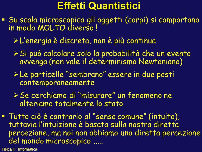 Effetti Quantistici Su scala microscopica gli oggetti (corpi) si comportano in modo MOLTO diverso !