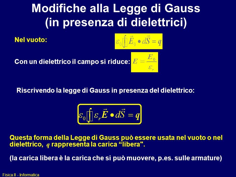 Modifiche alla Legge di Gauss (in presenza di dielettrici)