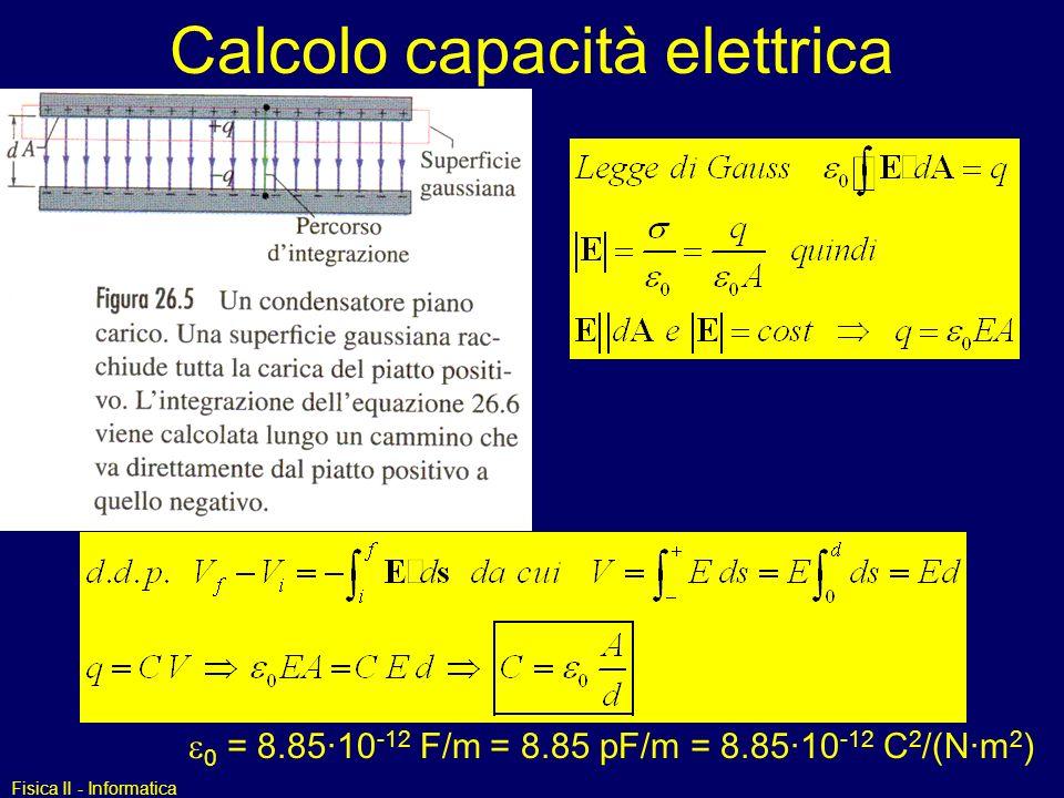 Calcolo capacità elettrica