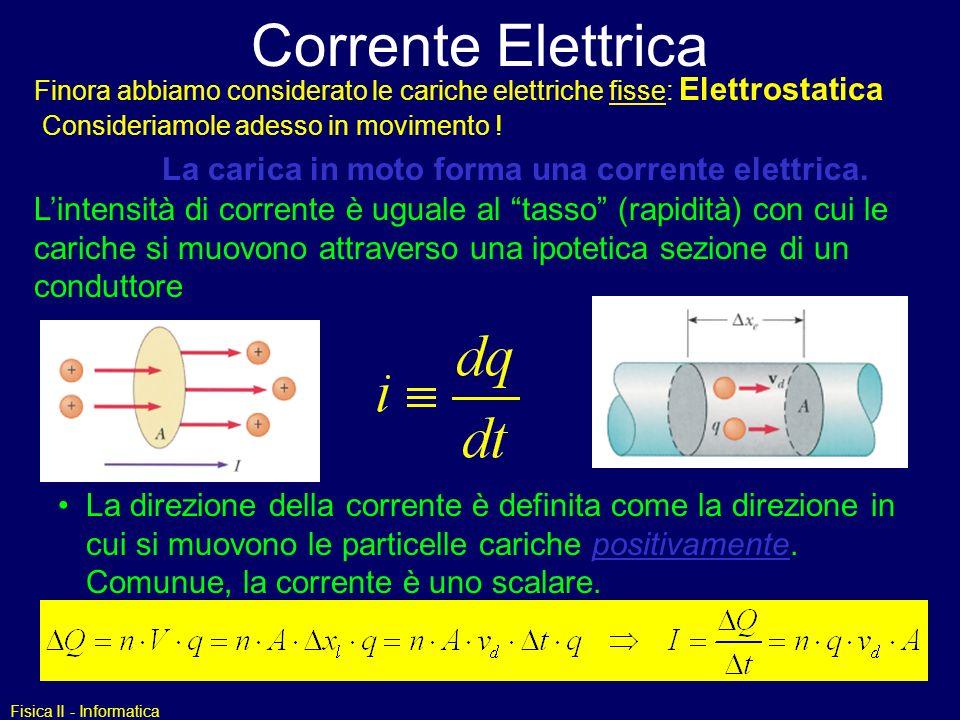 Corrente Elettrica La carica in moto forma una corrente elettrica.
