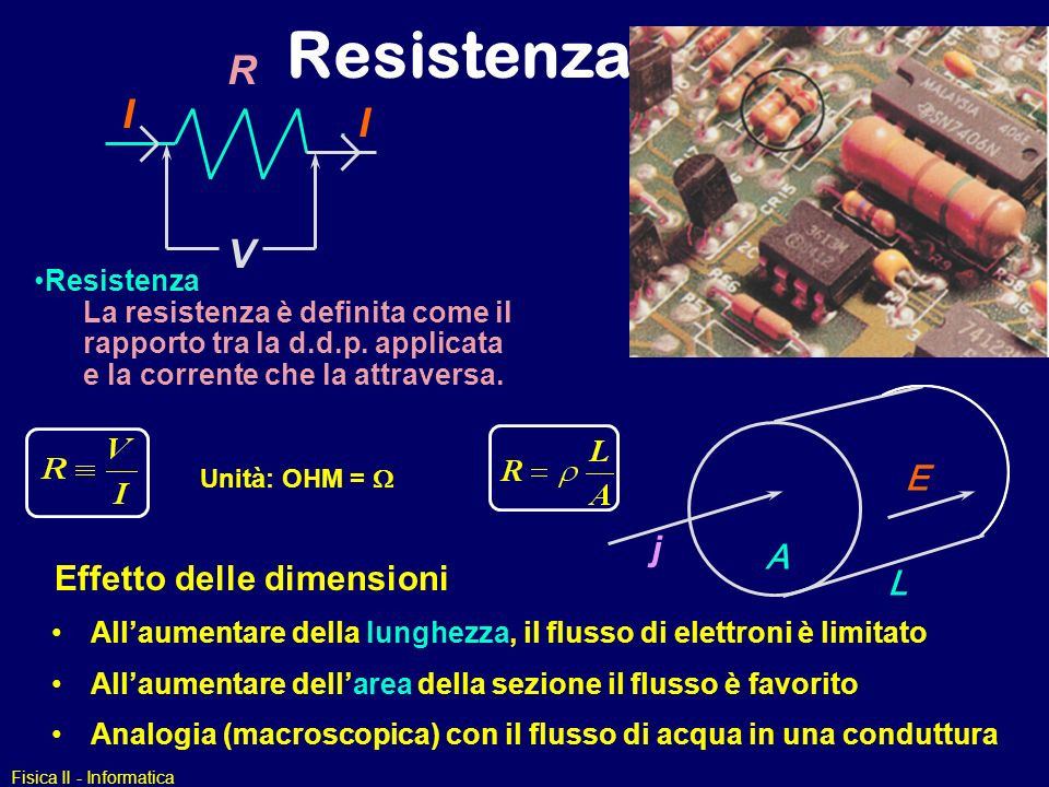 Resistenza R I V E j A Effetto delle dimensioni L Resistenza