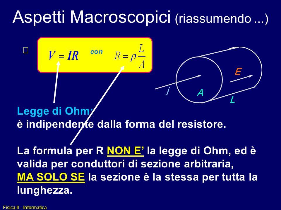 Aspetti Macroscopici (riassumendo ...)