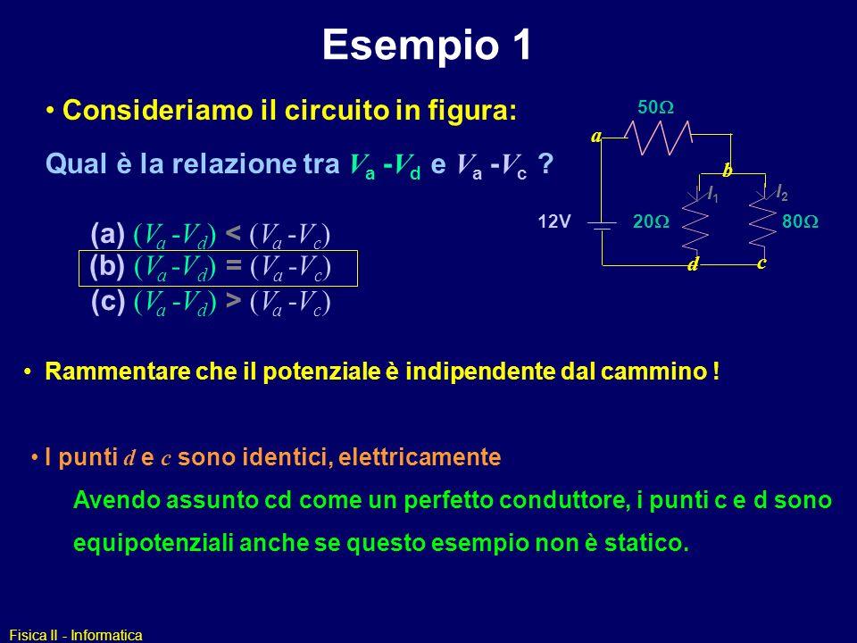 Esempio 1 Consideriamo il circuito in figura: