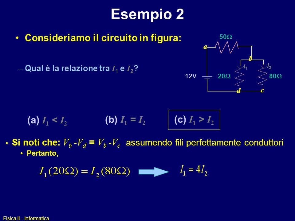 Esempio 2 Consideriamo il circuito in figura: (a) I1 < I2