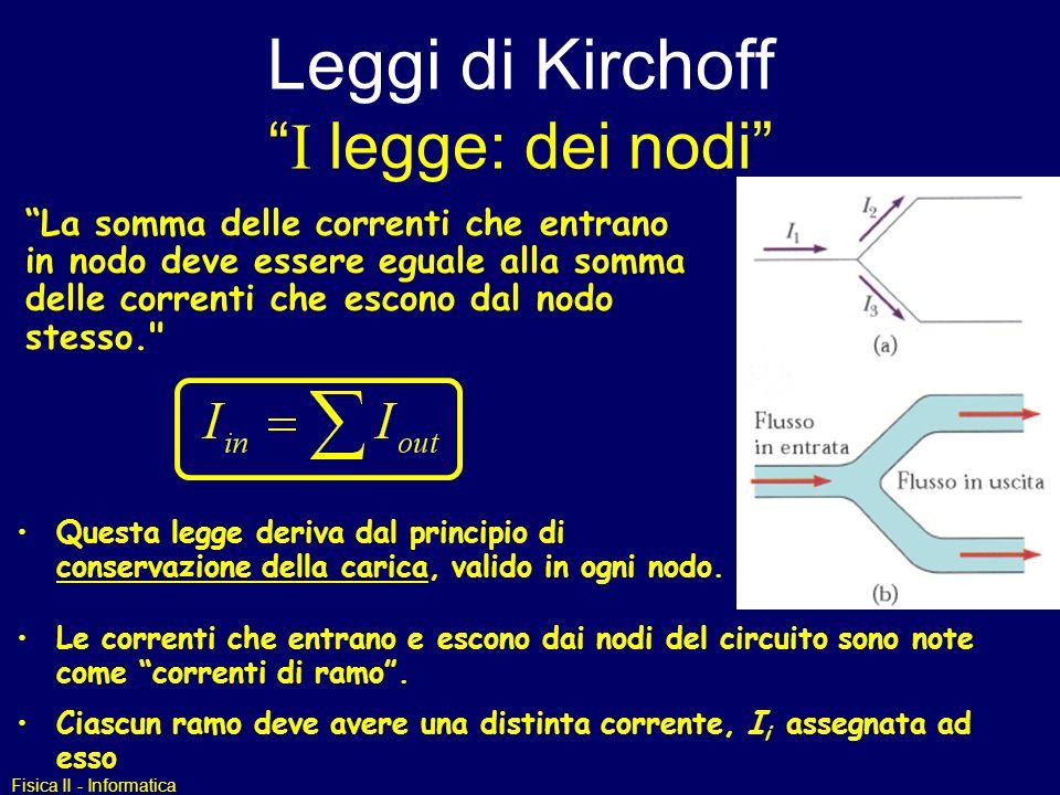 Leggi di Kirchoff I legge: dei nodi