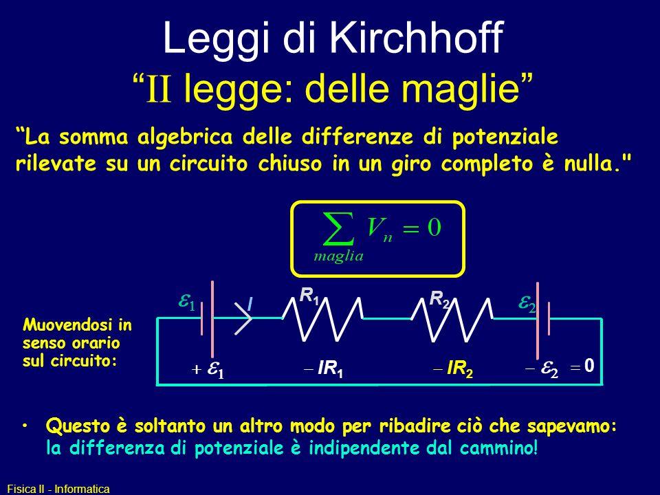 Leggi di Kirchhoff II legge: delle maglie