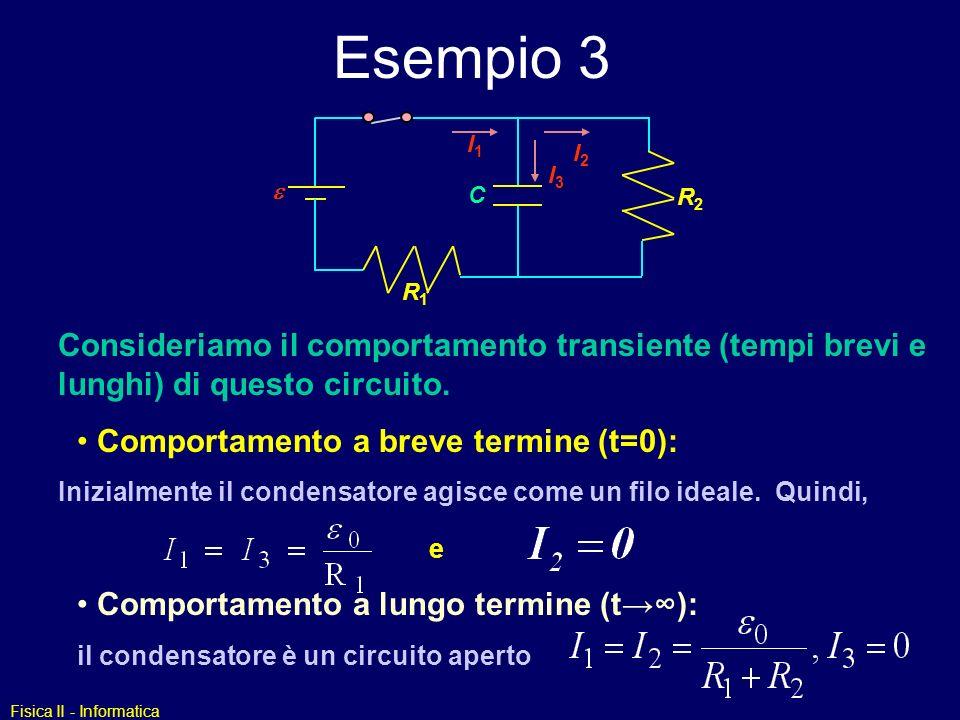 Esempio 3 I1. I3. I2. e. R2. C. R1. Consideriamo il comportamento transiente (tempi brevi e lunghi) di questo circuito.