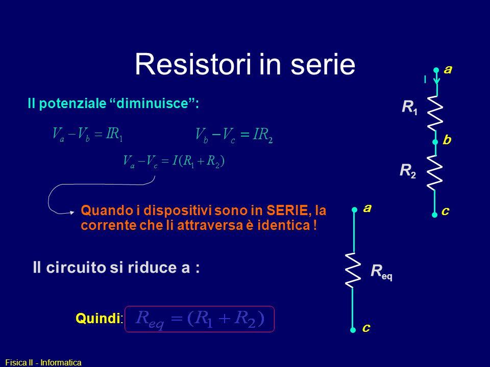 Resistori in serie R1 R2 Il circuito si riduce a : Req a