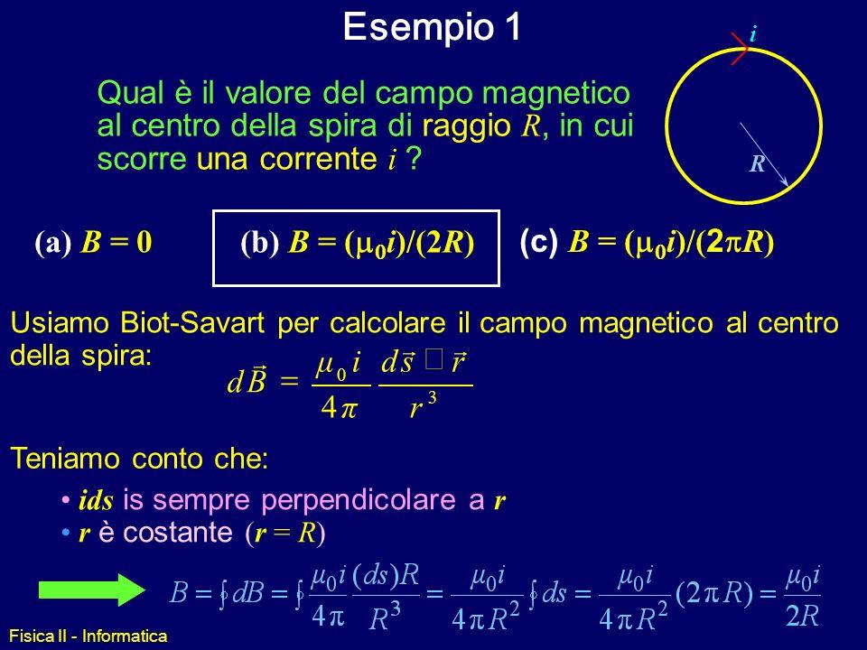 Esempio 1 Qual è il valore del campo magnetico