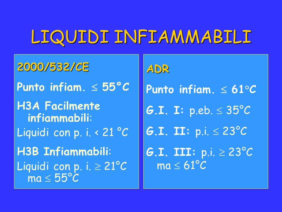 LIQUIDI INFIAMMABILI 2000/532/CE ADR Punto infiam.  55°C