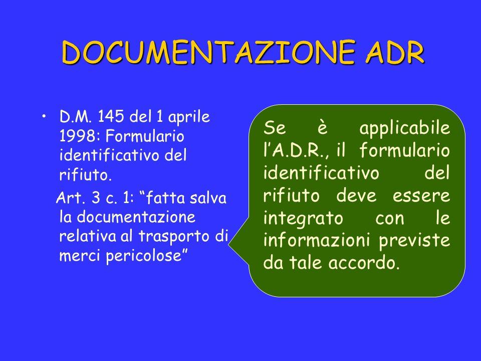 DOCUMENTAZIONE ADR D.M. 145 del 1 aprile 1998: Formulario identificativo del rifiuto.