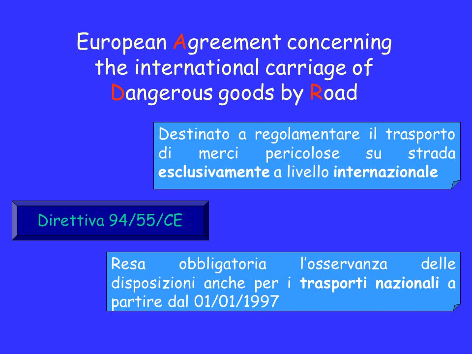 European Agreement concerning the international carriage of Dangerous goods by Road