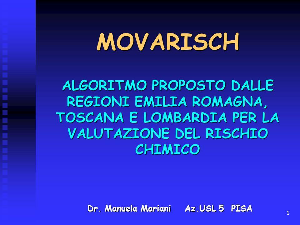 MOVARISCH ALGORITMO PROPOSTO DALLE REGIONI EMILIA ROMAGNA, TOSCANA E LOMBARDIA PER LA VALUTAZIONE DEL RISCHIO CHIMICO.